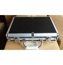 Extra Alu 200 case - fekete/ezüst zsetontartó táska/bőrönd, 200 db-os