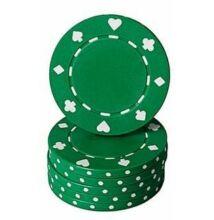 Classic Suited design póker zseton, zöld - 25-pack