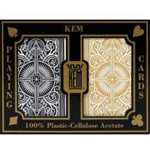 KEM Arrow Wide (Black and Gold) Jumbo, 2-pack Set (100% műanyag kártya, póker méret, dupla csomag)