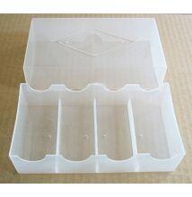 Műanyag póker zsetontartó, 100 db-os (4 x 25), fedeles