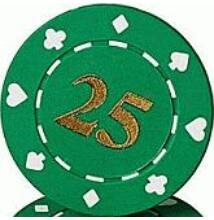 Suited & Numbered póker zseton, 25 - 25-pack