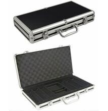 Extra Alu 300 case - fekete/ezüst zsetontartó táska/bőrönd, 300 db-os