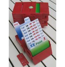 Bridgepartner Standard, bridzs licitkészlet, műanyag licitkártyákkal (4 db)