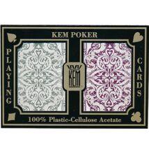 KEM Jacquard Wide Jumbo (Green and Burgundy) 100% műanyag póker kártya, dupla csomag
