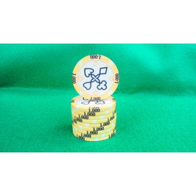 Zseton.hu HungaroLinea kerámia póker zseton - 1.000/sárga, 1 db (aligned)