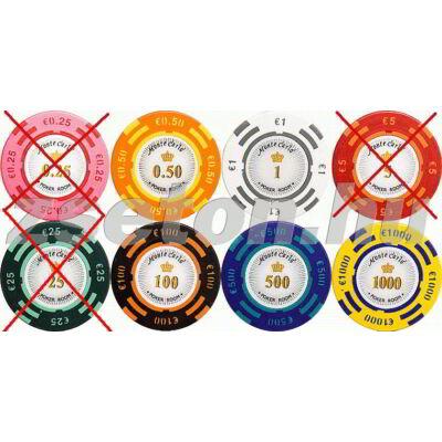 Monte Carlo Poker Room zseton mintakészlet (5 db zseton)