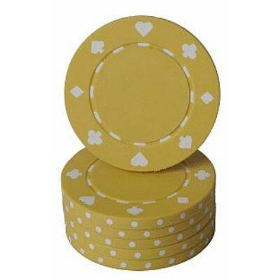 Classic Suited design póker zseton, sárga - 25-pack