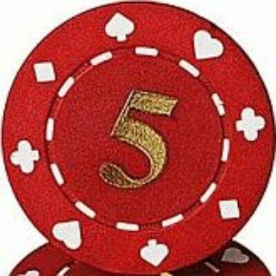 Suited & Numbered póker zseton, 5 - 25-pack