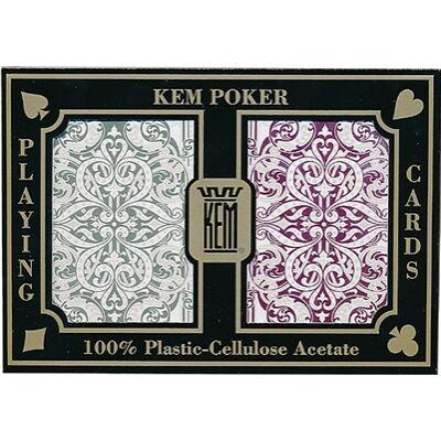 KEM Jacquard Wide Jumbo (Green & Burgundy) póker kártya, dupla csomag