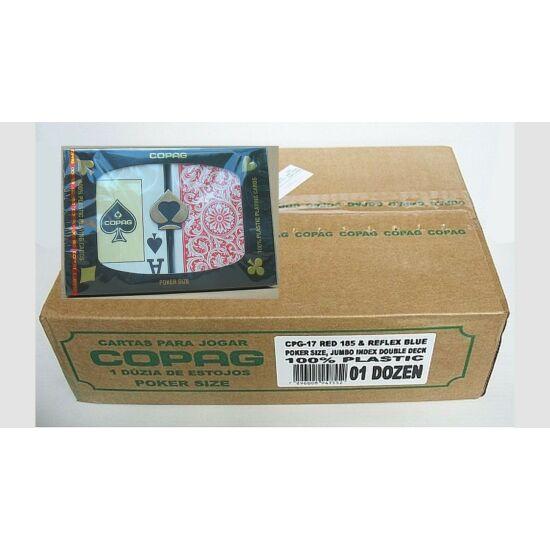 COPAG plasztik póker kártya, 2 Jumbo index, dupla csomag (piros/kék), 1 karton (12 dupla csomag)