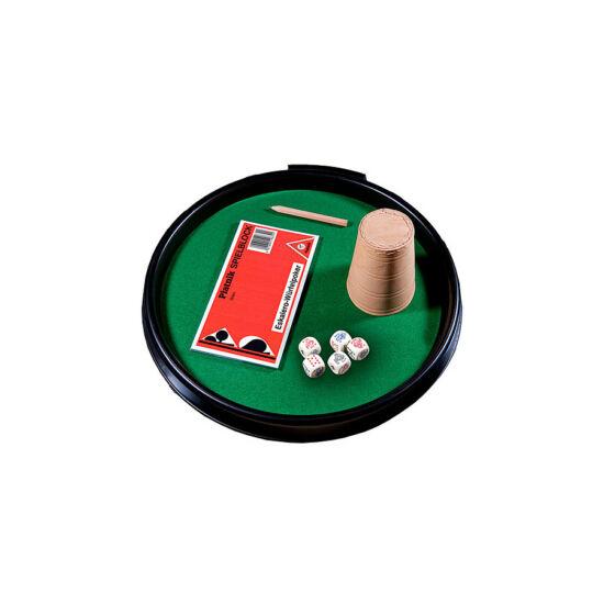 Pókertálca bőr pohárral és 5 db dobókockával