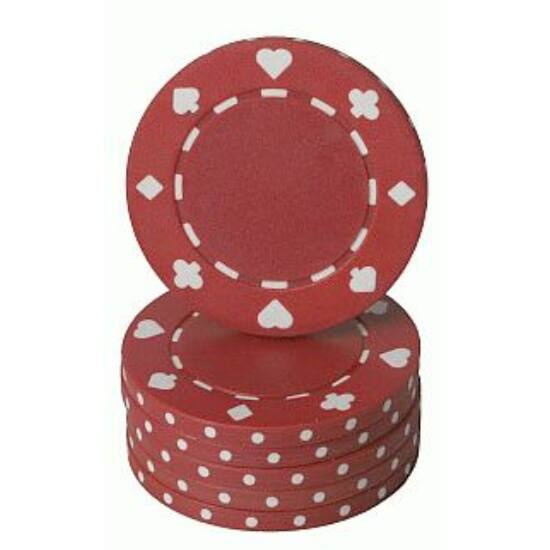 Classic Suited design póker zseton, piros - 25-pack