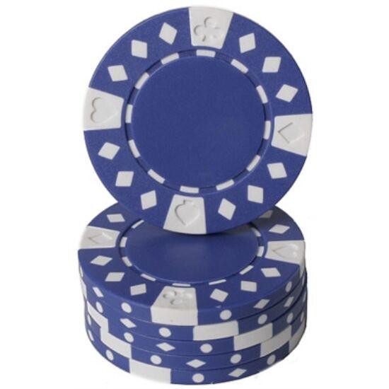 Suited & Diamonds póker zseton, kék - 25-pack