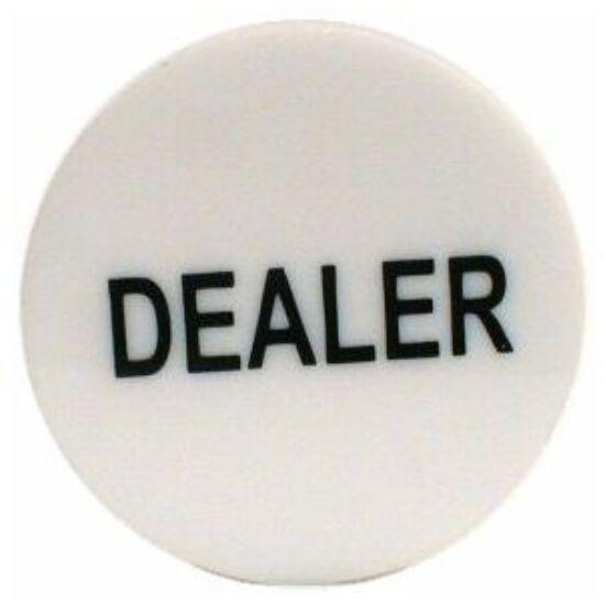 White Dealer Button (fehér osztógomb pókerhez)