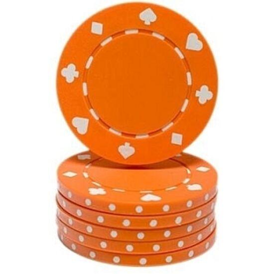 Classic Suited design póker zseton, narancs - 25-pack