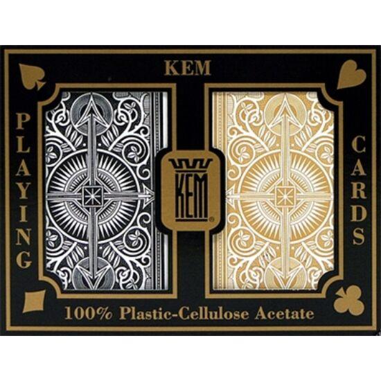 KEM Arrow Wide (Black & Gold) Jumbo, 2-pack Set (100% műanyag kártya, póker méret, dupla csomag)