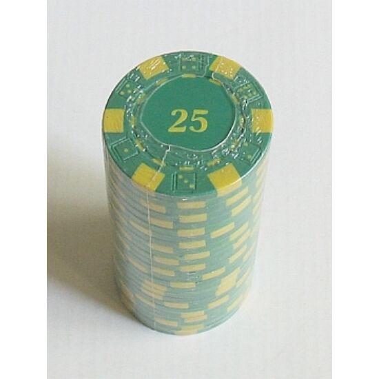 """Dice design póker zseton, számozott (""""25""""), zöld - 25-pack"""