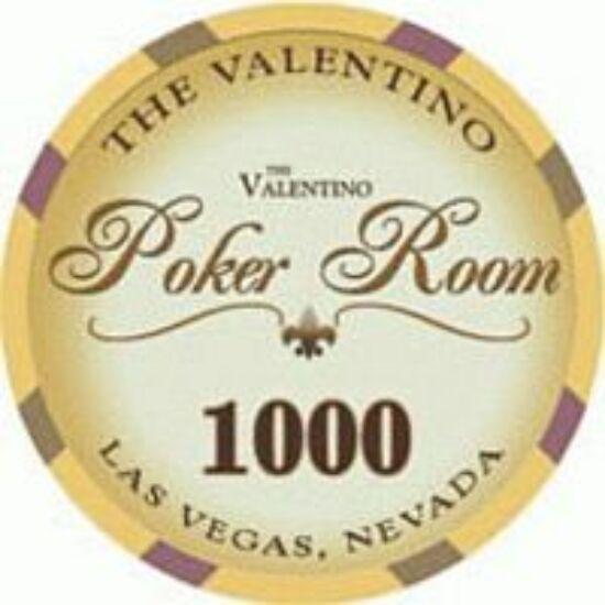 The Valentino Poker Room kerámia zseton - 1 000/sárga, 1 db (aligned)