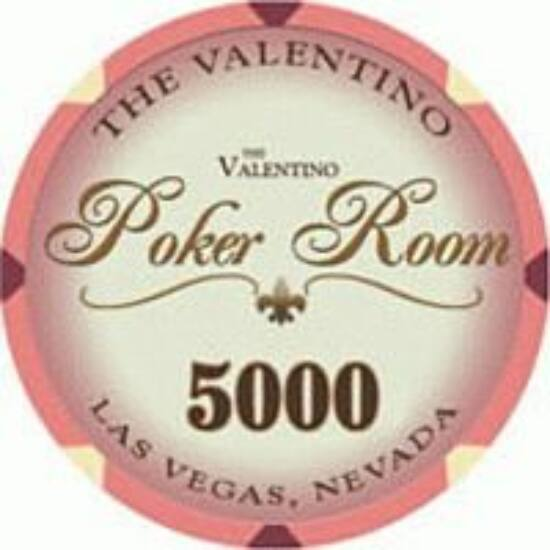 The Valentino Poker Room kerámia zseton - 5 000/rózsaszín, 1 db (aligned)
