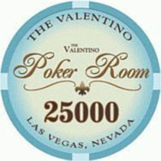 The Valentino Poker Room kerámia zseton - 25 000/kék, 1 db (aligned)