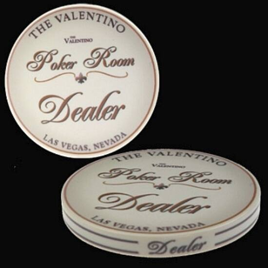 The Valentino Poker Room kerámia osztógomb (Dealer Button)