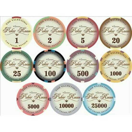 The Valentino Poker Room kerámia zseton mintakészlet (10 db zseton)