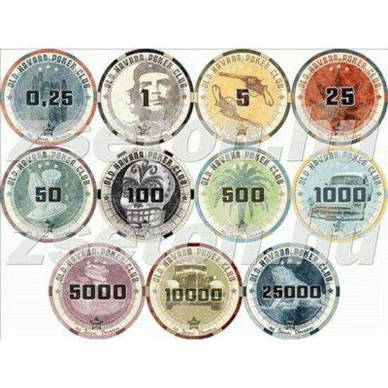 Old Havana Poker Club kerámia zseton mintakészlet (8 db zseton)