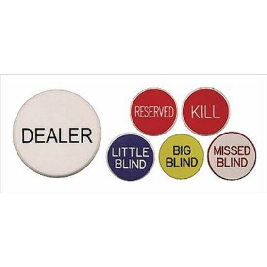 Poker Buttons Set (komplett gombkészlet: Dealer, Big Blind, Small Blind, Missed Blind, Reserved, Kill)