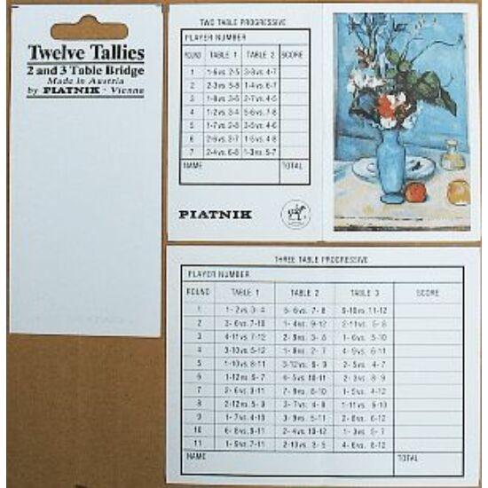 Bridzs szkórlap és ültetési rend 2 és 3 asztalos (8, ill. 12 fős) egyéni verseny céljára - 10 x 12 lap